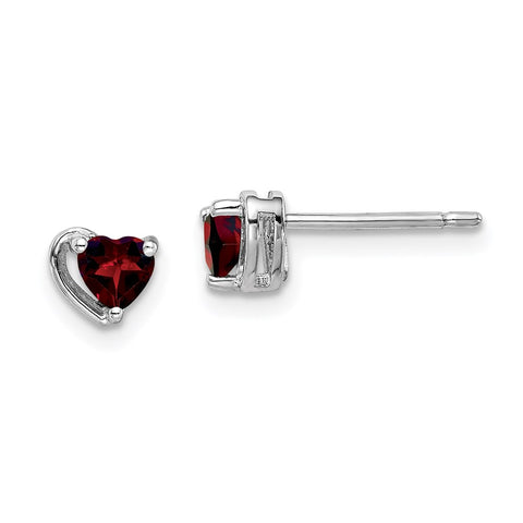 Sterling Silver Rhod-plated Garnet Heart Post Earrings-WBC-QE14916JAN