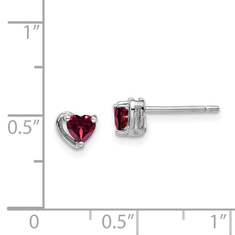 Sterling Silver Rhod-plated Created Ruby Heart Post Earrings-WBC-QE14916JUL