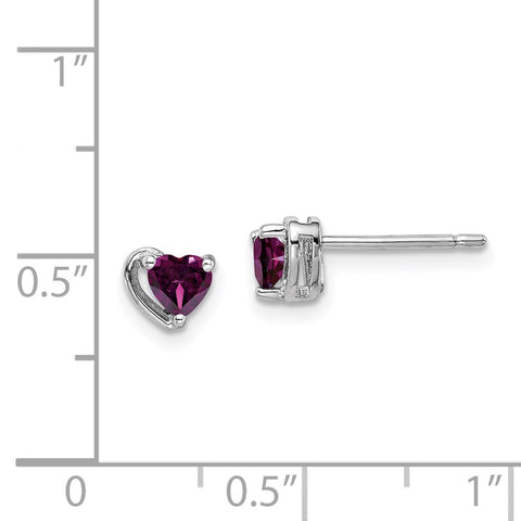 Sterling Silver Rhod-plated Rhodolite Garnet Heart Post Earrings-WBC-QE14916JUN