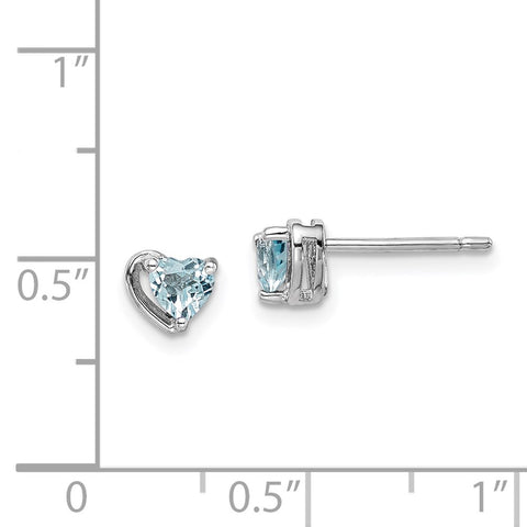 Sterling Silver Rhod-plated Aquamarine Heart Post Earrings-WBC-QE14916MAR