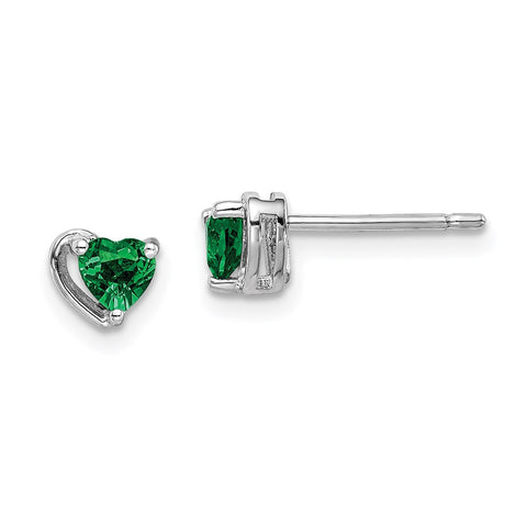 Sterling Silver Rhod-plated Created Emerald Heart Post Earrings-WBC-QE14916MAY