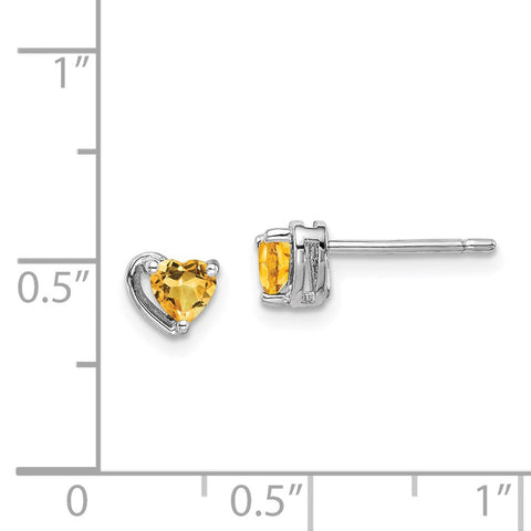 Sterling Silver Rhod-plated Citrine Heart Post Earrings-WBC-QE14916NOV