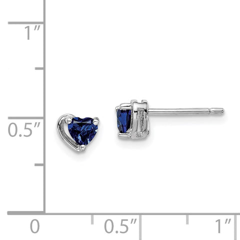 Sterling Silver Rhod-plated Created Sapphire Heart Post Earrings-WBC-QE14916SEP