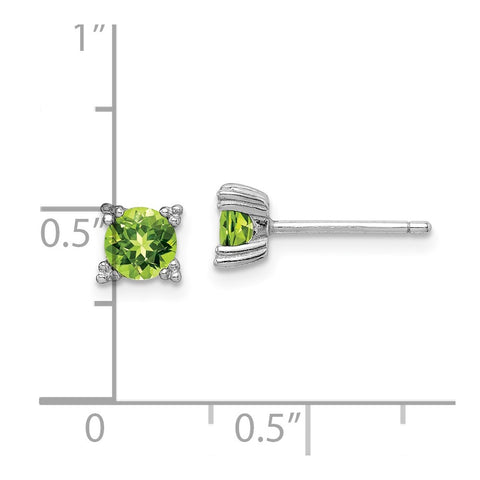 Sterling Silver Rhodium-platedRound 5mm Peridot Post Earrings-WBC-QE15118PE