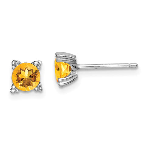 Sterling Silver Rhodium-plated Round 5mm Citrine Post Earrings-WBC-QE15141CI