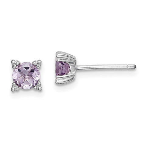 Sterling Silver Rhodium-plated Round 5mm Amethyst Post Earrings-WBC-QE15175