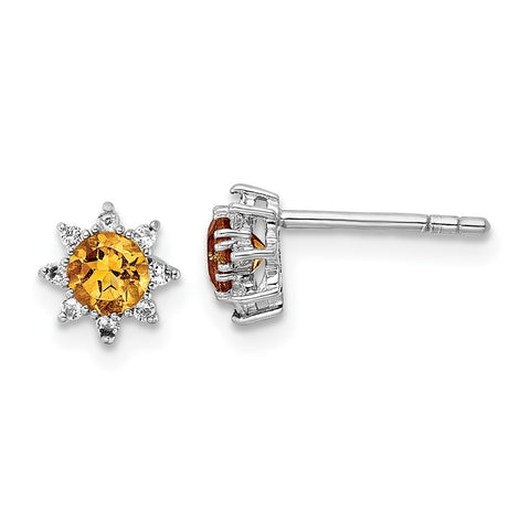 Sterling Silver RH .5CI Citrine & .1WT White Topaz Post Earrings-WBC-QE15657