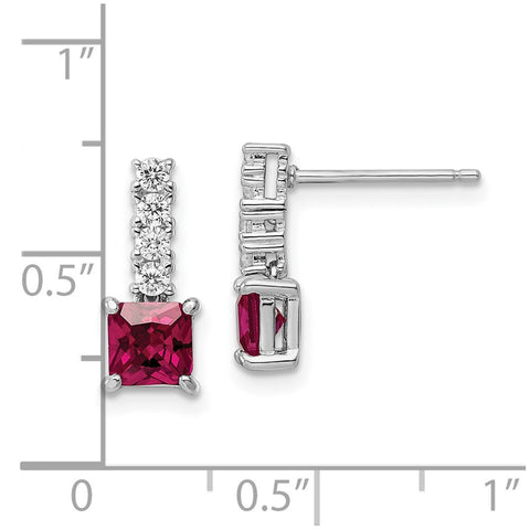 Sterling Silver Rhodium-plated Created Ruby and CZ Post Dangle Earrings-WBC-QE15755