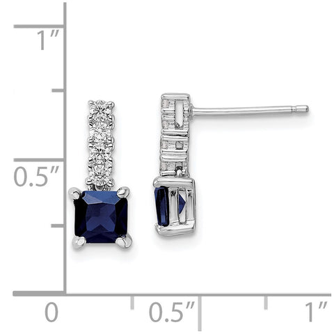 Sterling Silver Polished Rhodium Cr. Blue Spinel and CZ Post Dangle Earring-WBC-QE15756