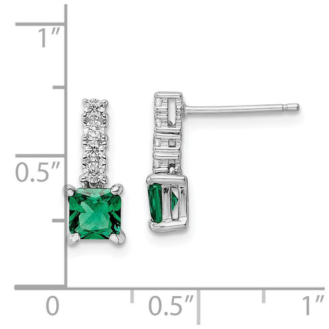 Sterling Silver Polished Rhodium-plated Green/Clear CZ Post Dangle Earrings-WBC-QE15757