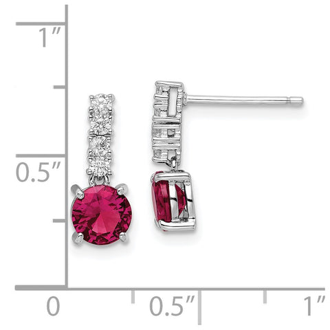 Sterling Silver Rhodium-plated Created Ruby and CZ Post Dangle Earrings-WBC-QE15758