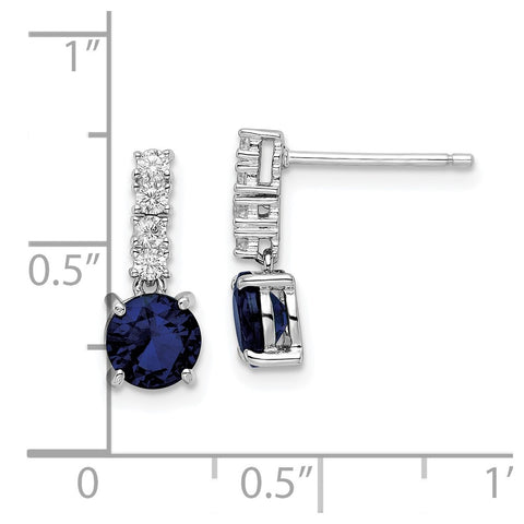 Sterling Silver Polished Rhodium Cr. Blue Spinel and CZ Post Dangle Earring-WBC-QE15759
