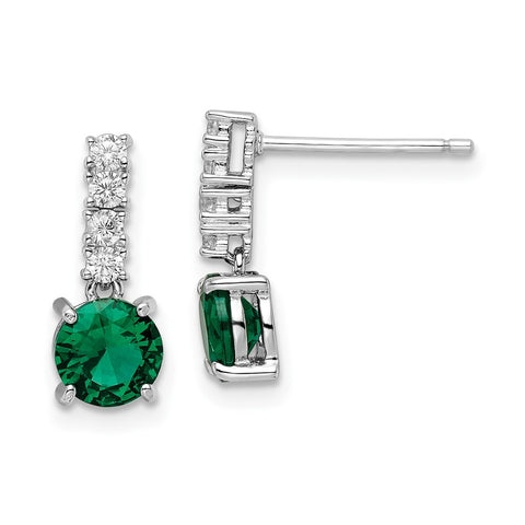 Sterling Silver Polished Rhodium-plated Green/Clear CZ Post Dangle Earrings-WBC-QE15760