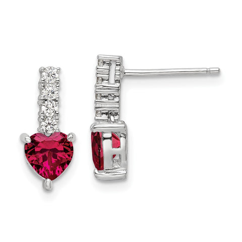 Sterling Silver Polish Rhod-plated Created Ruby Heart Post Dangle Earrings-WBC-QE15761
