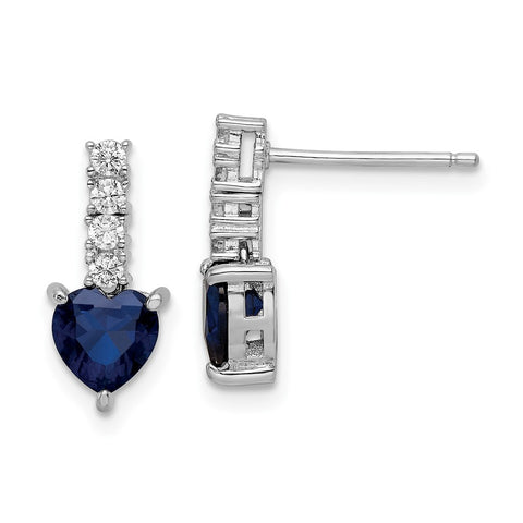 Sterling Silver Polished Rhodium Cr. Blue Spinel CZ Heart Post Earrings-WBC-QE15762