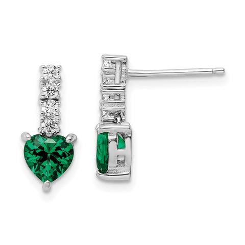 Sterling Silver Polished Rhodium Green/Clear CZ Heart Post Dangle Earrings-WBC-QE15763
