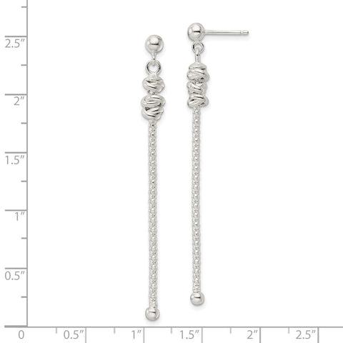 Sterling Silver Fancy Knot w/Chain Post Dangle Earrings-WBC-QE16052