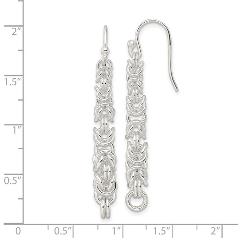 Sterling Silver Fancy Byzantine Chain Dangle Shepherd Hook Earrings-WBC-QE16055