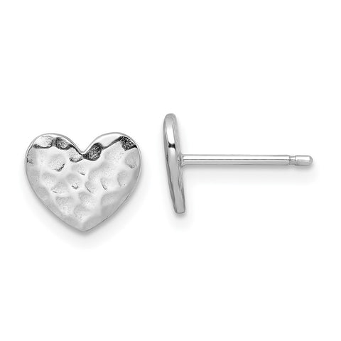 Sterling Silver Rhodium-plated Polished Hammered Heart Post Earrings-WBC-QE16423