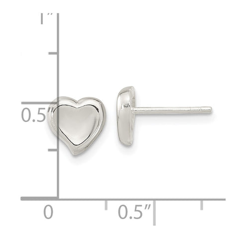 Sterling Silver Polished Puffed Heart Post Earrings-WBC-QE16424