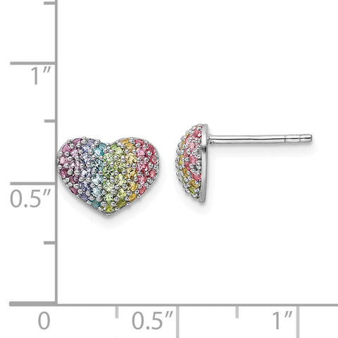 Sterling Silver Rhodium-plated Rainbow Nano Crystal Heart Post Earrings-WBC-QE16592