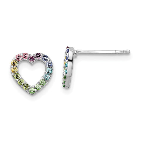 Sterling Silver Rhodium-plated Rainbow Nano Crystal Heart Post Earrings-WBC-QE16593