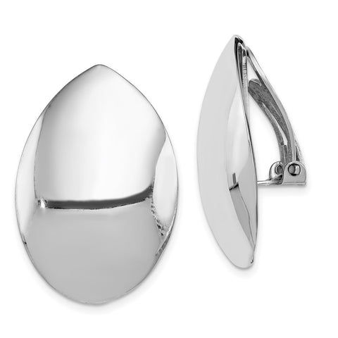 Sterling Silver Rhodium-plated Polished Oval Non-pierced Earrings-WBC-QE1819