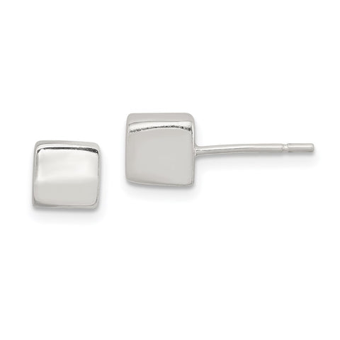 Sterling Silver Polished 6mm Square Cube Earrings-WBC-QE1838