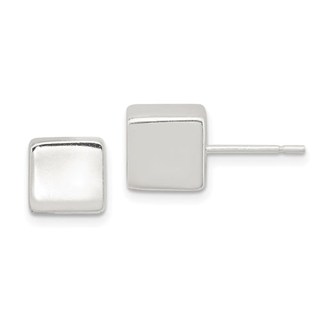Sterling Silver Polished 8mm Square Cube Earrings-WBC-QE1839