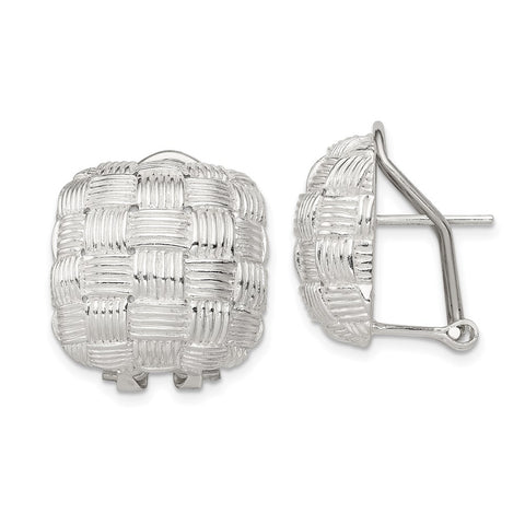 Sterling Silver Square Fancy Omega Back Earrings-WBC-QE2932
