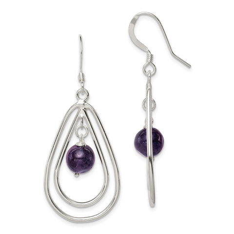 Sterling Silver Amethyst Dangle Earrings-WBC-QE3043