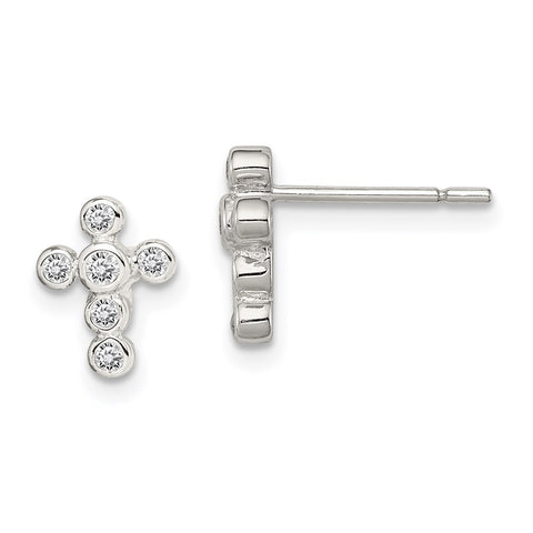 Sterling Silver Rhodium-plated CZ Cross Earrings-WBC-QE3082