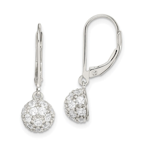 Sterling Silver CZ Leverback Earrings-WBC-QE3105