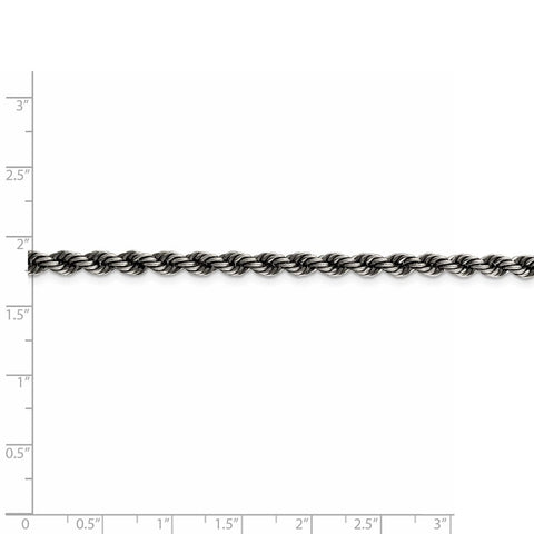Sterling Silver Ruthenium-plated 4mm Rope Chain-WBC-QFC202-8
