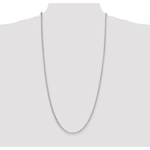 Sterling Silver 4mm Rolo Chain-WBC-QFC5-30