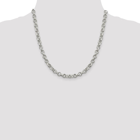 Sterling Silver 6.75mm Rolo Chain-WBC-QFC78-20