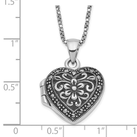 Sterling Silver Marcasite Heart Locket w/Chain Necklace-WBC-QG1942-18