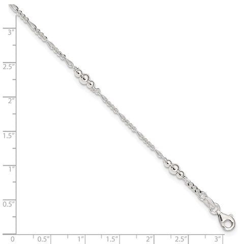 Sterling Silver Polished Bead Plus 1in ext. Anklet-WBC-QG3143-9