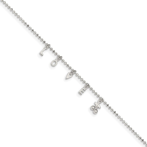 Sterling Silver LOVE 10 in Plus1 in Ext. Anklet-WBC-QG3169-10