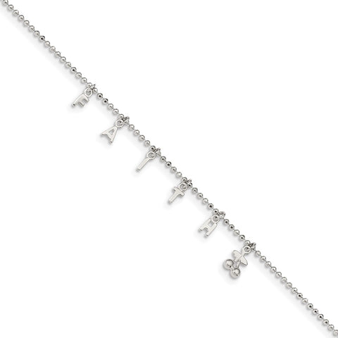 Sterling Silver FAITH 10in Plus 1in Ext. Anklet-WBC-QG3172-10