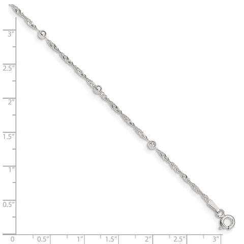 Sterling Silver 10in Plus 1in ext. Anklet-WBC-QG3177-10
