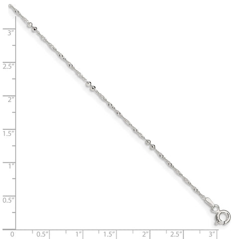 Sterling Silver 10in Plus 1in ext. Anklet-WBC-QG3178-10