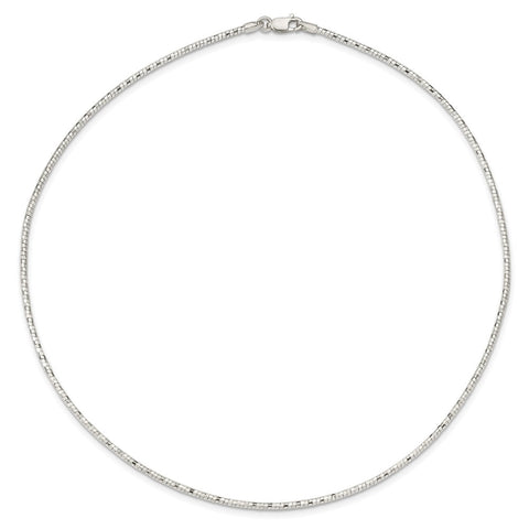 Sterling Silver Polished D/C 2mm Neckwire-WBC-QG3784-17