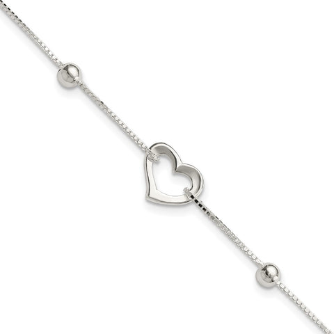 Sterling Silver Heart w/Box Chain Bracelet-WBC-QG3815-7.5