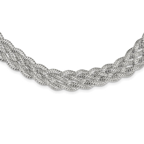 Sterling Silver Braided Mesh Necklace-WBC-QG3841-18