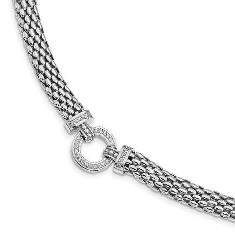 Sterling Silver Rhodium-plated Polished CZ Mesh 17.75in Necklace-WBC-QG4505-17.75