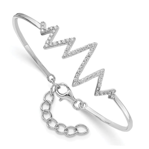 Sterling Silver Rhodium-plated CZ  Heartbeat Bangle-WBC-QG4584