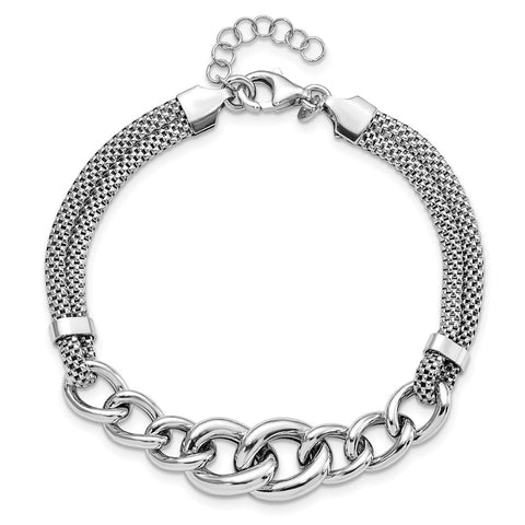 Sterling Silver Rhodium-plated Fancy Chain w/1in Ext. 2-strand Bracelet-WBC-QG5115-7