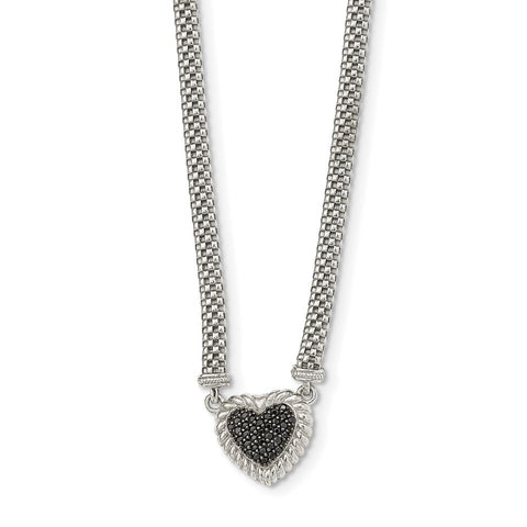 Sterling Silver Black Sapphire Heart Mesh Link Necklace-WBC-QG5378-18