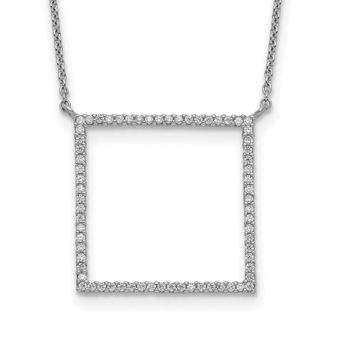 Sterling Silver Square CZ Necklace-WBC-QG5510-18